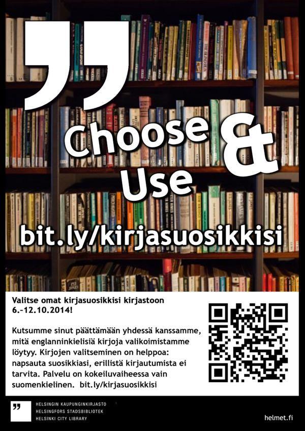 Valitse omat kirjasuosikkisi kirjastoon 6.–12.10.2014!   http://bit.ly/kirjasuosikkisi