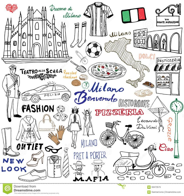 milan-italy-sketch-elements-hand-drawn-set-duomo-cathedral-flag-map-shoe-fashion-items-pizza-shopping-street-transpor-58473575.jpg (1300×1390)