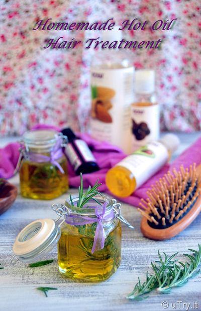 Homemade Hot Oil Hair Treatment DIY:  2 T olive oil, and almond oil, 1 T avocado oil, 2 t jojoba, 2 sm  bunches fresh rosemary, 6-8 drops peppermint oil.