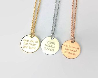 Personalized message necklace mother's day necklace grandma gift coin necklace gold name necklace date necklace engraved necklace for her