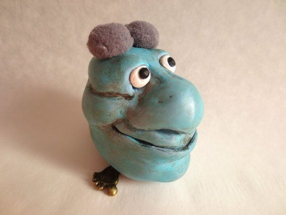 Whimsical Blue CreatureGood Luck Charm by ArteTeer on Etsy, $15.00