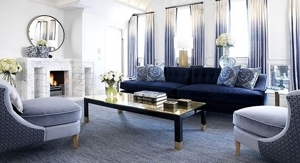 Currently Obsessed: Navy Velvet Sofas Suite at The Connaught Hotel in London, designed by David Collins