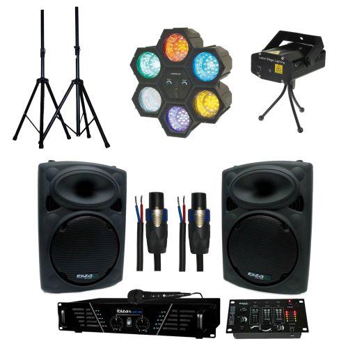 Loue un Kit Sono + Lumière pour soirée, anniversaires ...Le kit contient:- 1 ampli 300 W- 2 enceintes 200 W- 1 table de mixage- 1 Micro ( sans- fil ou avec fil )- 2 Pieds d'enceintes- 2 câbles Speakon  5 m- 1 party light 6- 1 laser ( rouge et vert )Pour plus d'infos, contactez moi