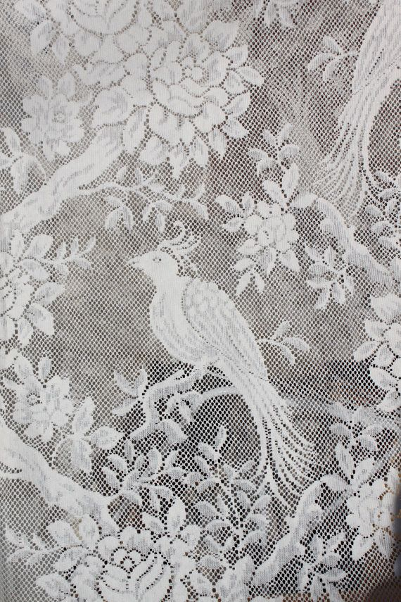 Vintage Lace Curtain Fabric Bird Of Paradise Parrot Natural White 5