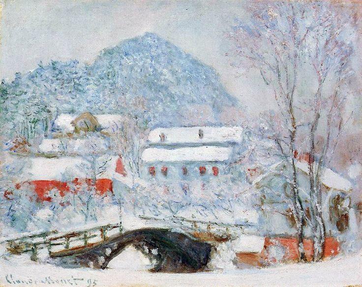 Claude Monet. Sandviken, Norway, Village in the Snow, 1895