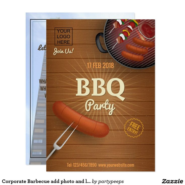 business party invitation letter templates%0A Corporate Barbecue add photo and logo Invitation