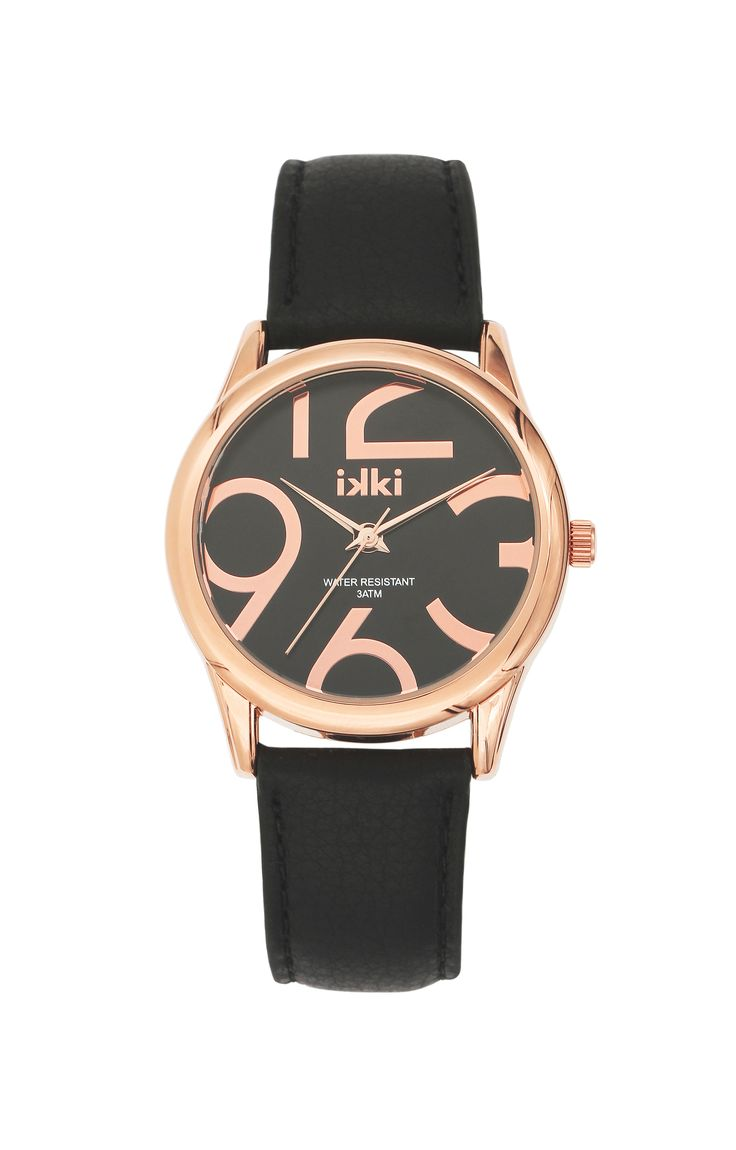 Black watch, zwart horloge, roségoud, ikki fashion, ikki style