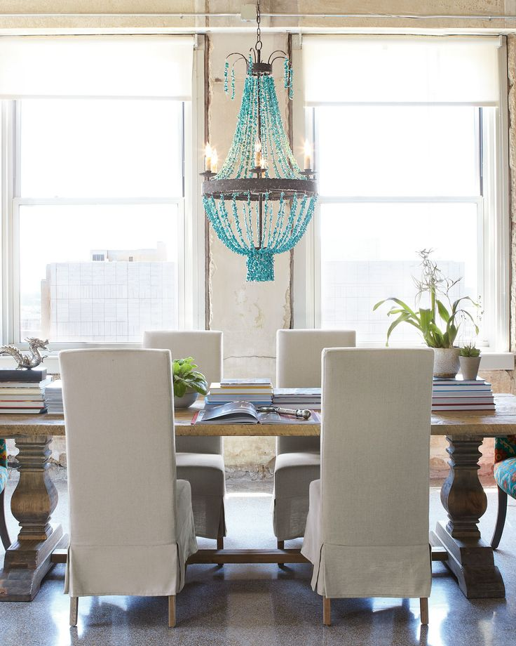 Magnificent Turquoise Chandelier For Main Lamp Installation Charming Eclectic Dining Room Design Interior With Contemporary Furniture Style