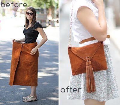 DIY- suede skirt to envelope purse. With tutorial. http://ticktockvintage.blogspot.com/2011/07/diy-suede-skirt-to-envelope-purse.html