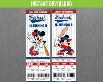 Disney Vintage Minnie & Mickey Birthday Ticket por SunnyGeckoDesign