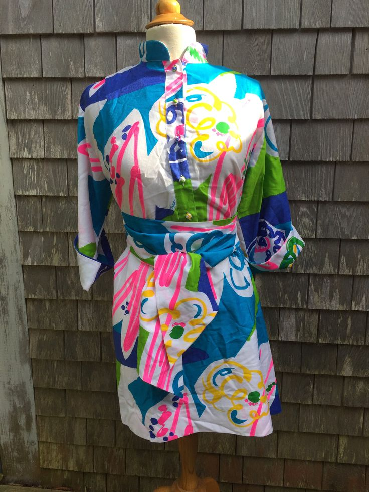 Vintage Catherine Ogust Penthouse Gallery Kimono/Shirt/Tunic Dress with Tie One Size by MonomoyResale on Etsy