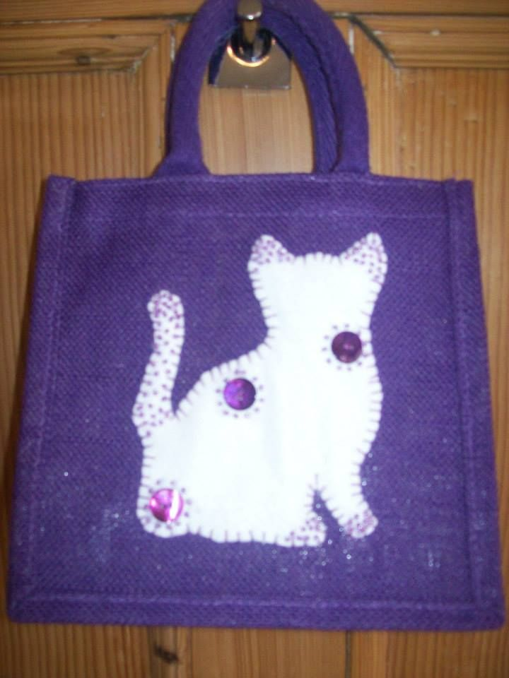 Small Luxury Unique Bespoke Hand Embellished Jute Bag.