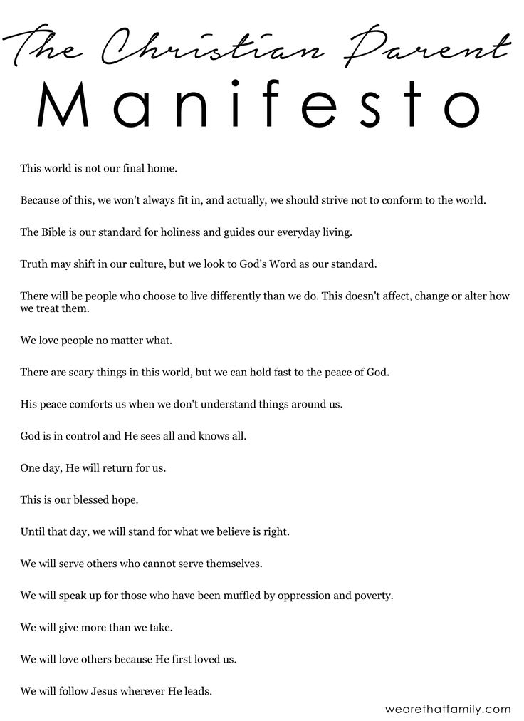 christian parent manifesto