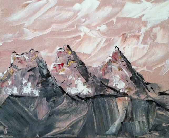 The Three Sisters Painting: Acrylic paint on canvas. The Three Sisters Mountains in Alberta. I love the way the colors moved together to give it that rock feel. Made for the Euphoria Cafe NW Calgary. SOLD