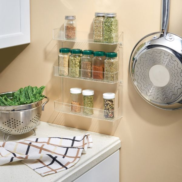 This Convenient Cabinet Binz Spice Rack Features 3 Shelves For Storing Spices Of Any Size Durable Clear Plastic Allows You Ease In Viewing Contents