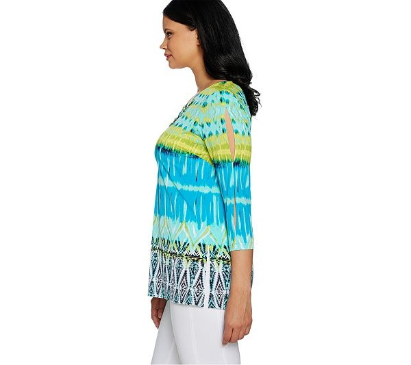 Bring a solid-color pair of pants to life with this artisan printed tunic. From Susan Graver. Page 1 QVC.com