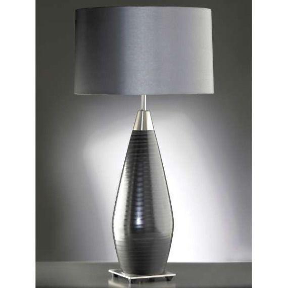 Stojąca LAMPA stołowa LUI/CONRAD+LUI/LS1023 Elstead ceramiczna LAMPKA abażurowa czarny srebrny