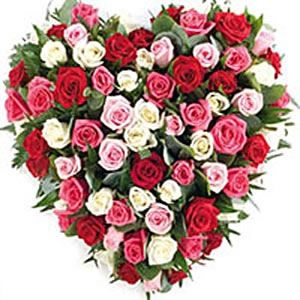 Send a beautiful heart shaped arrangement of 50 multicolour roses which speak only of love, love and love.