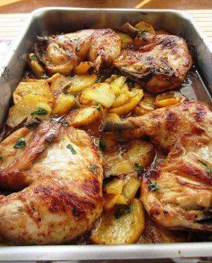 Pollo asado a la provenzal