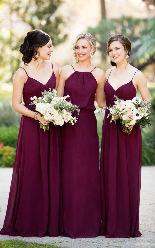 Burgundy Chiffon Floor Length Bridesmaid Dress by Sorella Vita