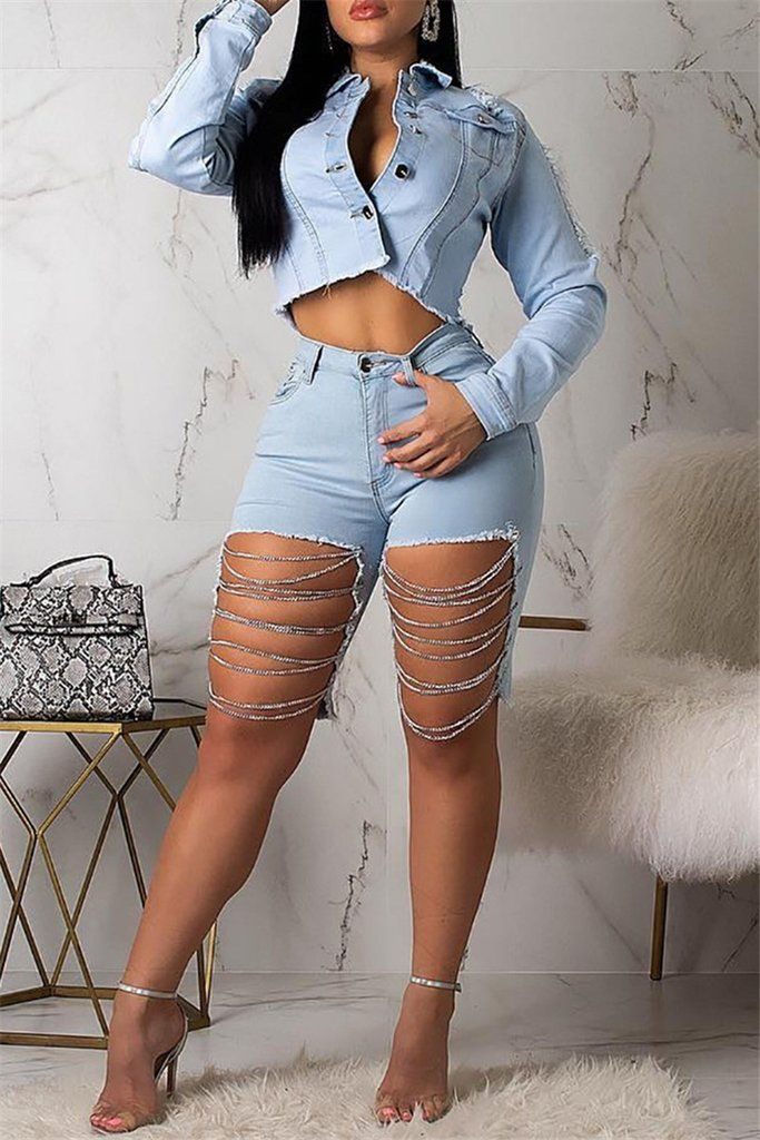 Distressed Chain Splicing Denim Shorts | Kleding, Oude jeans ...