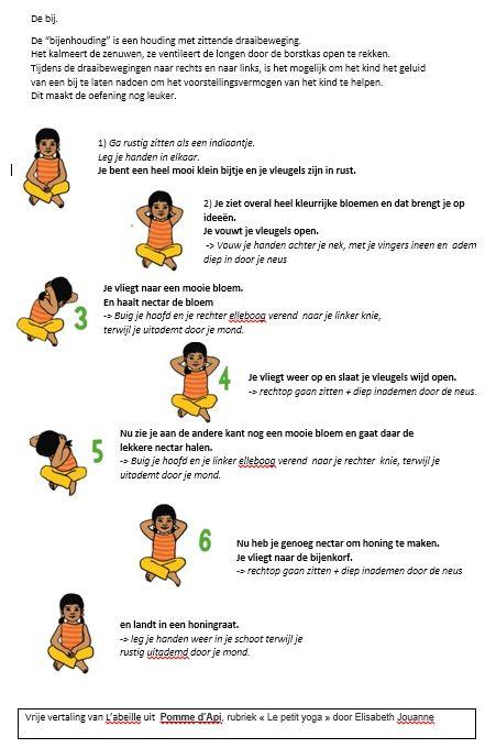 """Yoga-oef. : De bij. Vrije vertaling door Els Saey. Bro """"L'abeille"""" uit Pomme d'Api, rubriek « Le petit yoga » door Elisabeth Jouanne"""