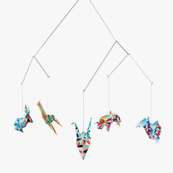 Bebé móvil / móvil de Origami Zoo: mosaico de decoración del cuarto de niños colección - decoración de cuna -