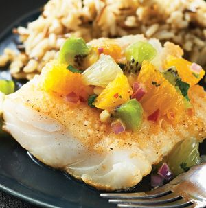 Cod with Citrus Salsa is healthy and delicious and is super quick to prepare. Cod's sweet and mild disposition gets kicked up with a light cumin-scented breading and bright citrus salsa.