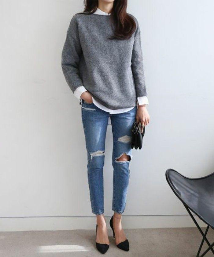 jeans boyfriend, pull gris femme, chemise blanche femme