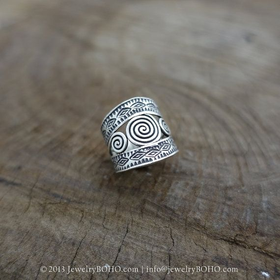 BOHO 925 Silver Ring-Gypsy Hippie Ring,Bohemian style,Statement Ring R127 JewelryBOHO,Handmade sterling silver BOHO Tribal printed ring