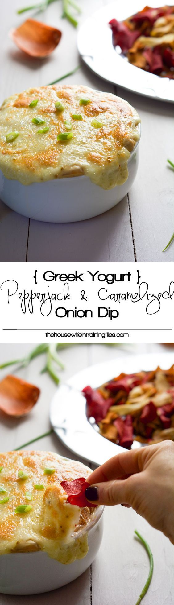 {Greek Yogurt} Pepperjack & Caramelized Onion Dip is an upgrade to the classic dip with spicy pepperjack cheese and made skinny with a greek yogurt base