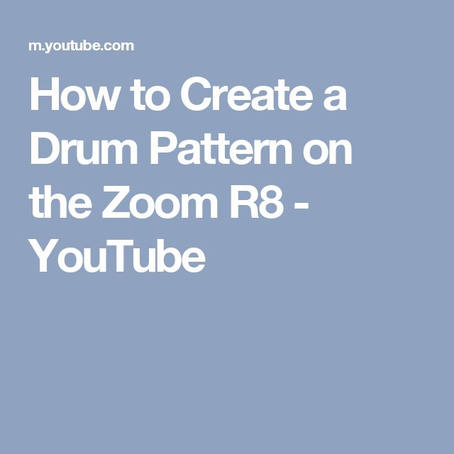 How to Create a Drum Pattern on the Zoom R8 - YouTube