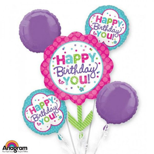 PINK & TEAL BIRTHDAY BALLOON BOUQUET : #Birthday #Balloon #Delivery to #Bahrain