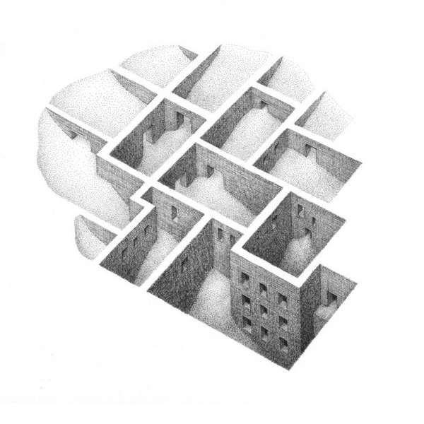 Mind-Bending Maze Drawings  Mathew Borrett Renders Surreal Beehive-Like Labyrinths