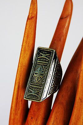 Women-Fashion-Jewellery-Aztec-Style-Brass-Ring-Size-7-5-Ladies-Gift