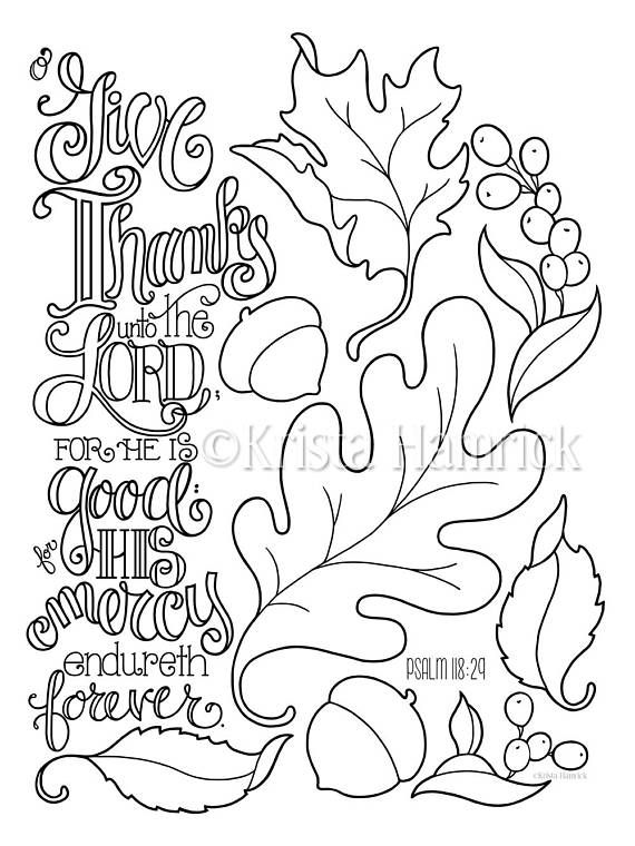 Give Thanks Autumn Leaves Coloring Page 8.5X11 Bible Etsy Bible  Coloring Pages, Fall Leaves Coloring Pages, Fall Coloring Pages