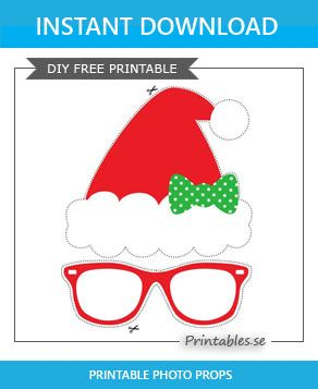photo booth props santa hat with a bow free printable for