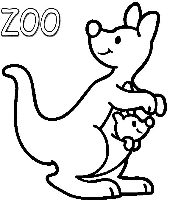 Zoo Kangaroo Coloring Pages For Kids Printable
