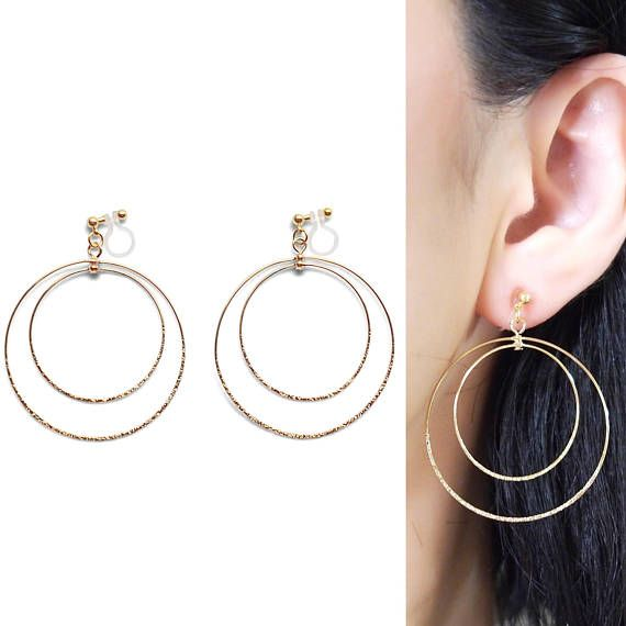 Invisible Clip On Hoop Earrings Gold Circle Hoops Drop Round Ons Non Pierced