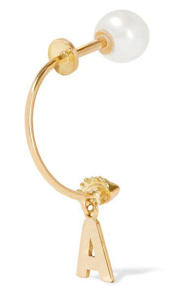Delfina Delettrez - Abc 18-karat Gold, Pearl And Enamel Earring - Y