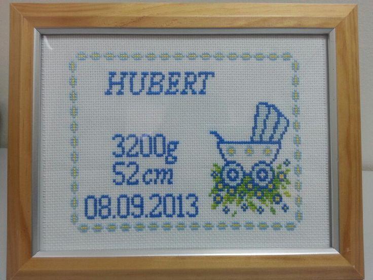 Cross stitch haft krzyżykowy metryczka narodziny