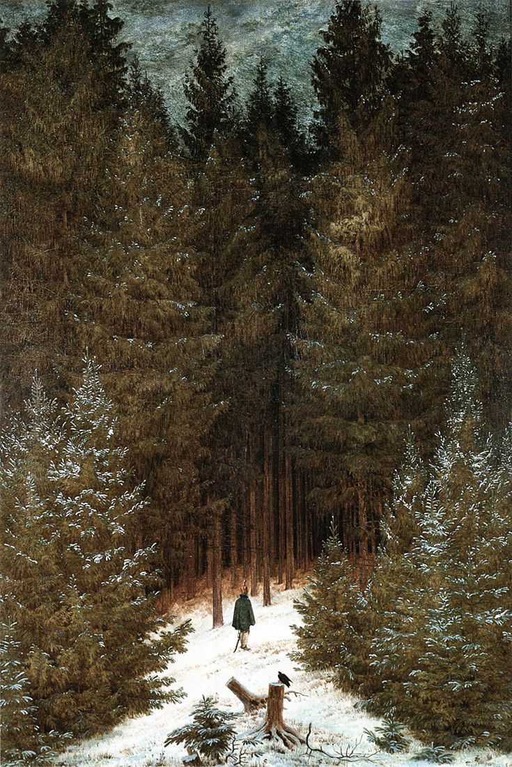 Caspar David Friedrich, Chasseur im Walde (1814).  A dismounted French cavalryman, enveloped by German forest, is confronted by a raven.