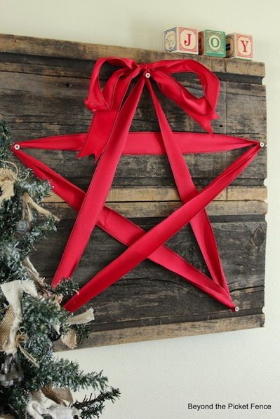 How-To: Reclaimed Wood and Ribbon Star Decoration: using BLUE ribbon, make Star of David. Use blocks to spell Hanukkah.