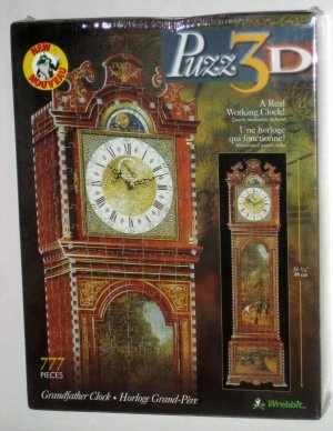 Puzz3D Jigsaw Puzzle Grandfather Clock 777 Pieces Puzz 3D Real Working Clock P3D-813 Wrebbit NIB $38