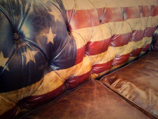 hand painted leather couch... Hmmmmm... I have an old worn looking leather couch in my gameroom... I need to paint it...but WHAT do I paint on it?