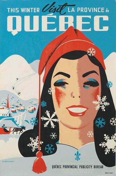 Visit Quebec Ski Village by Roger Couillard - Vintage Sports Posters Gallery at I Desire Vintage Posters