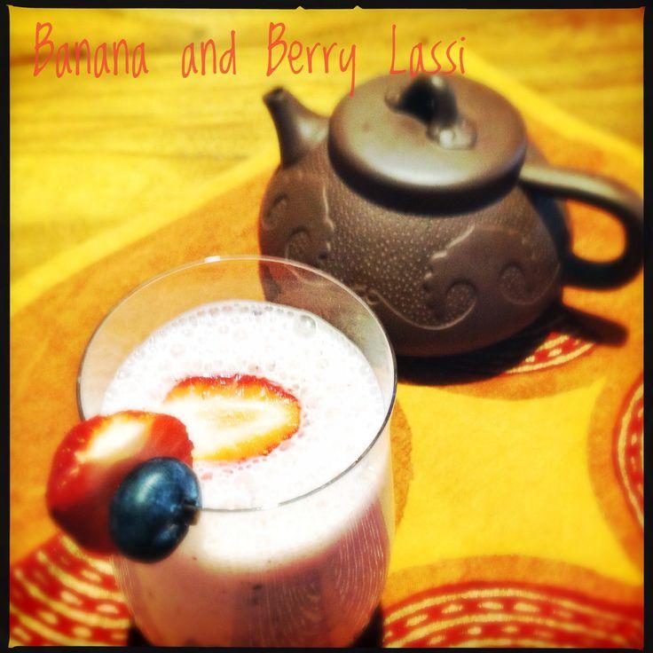 Banana and Berry Lassi | Yoghurt Smoothie