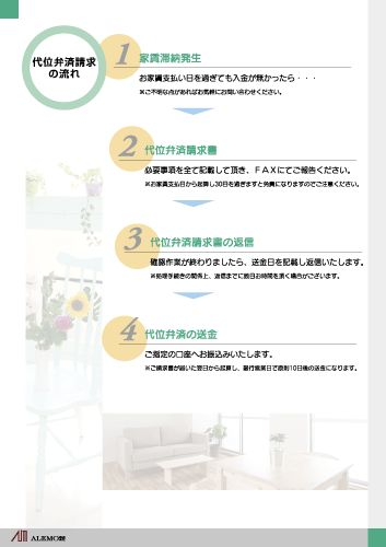 賃貸保証会社 営業ツールリーフレット 印刷デザイン 4枚組-3-裏面 A4サイズ