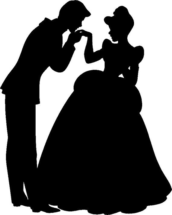 Cinderella And Prince Charming Hand Kiss Silhouette Vinyl Decal