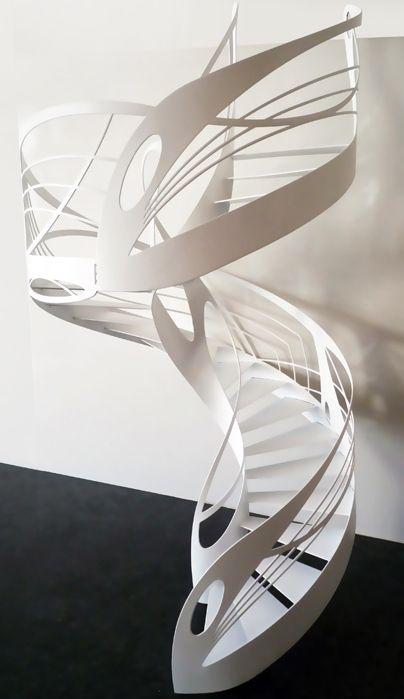 Escalier Design Contemporain Hélicoïdal de style Art Nouveau dessiné & réalisé par Jean Luc Chevallier pour La stylique.